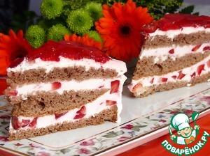 Рецепт Клубничный торт с желе