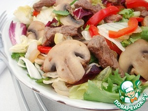 Рецепт Мясной салат с шампиньонами и овощами