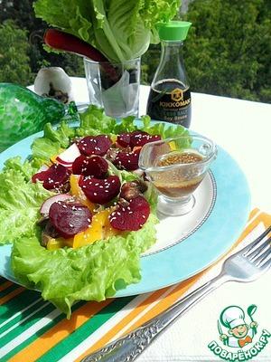 Готовим Теплый салат из свеклы с печенью цыпленка простой пошаговый рецепт приготовления с фотографиями