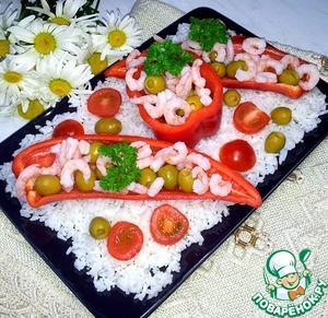 Рецепт Закусочный салат с креветками и оливками