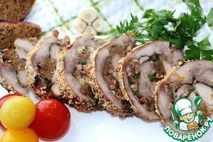 Рецепт Голень индейки, фаршированная беконом и хлебом