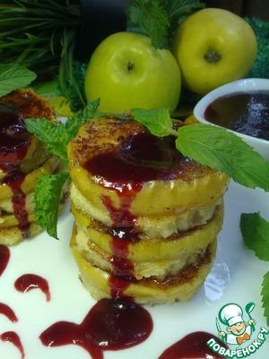 Рецепт Гренки c печеными яблоками и вишневым соусом
