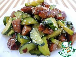 Рецепт Салат из курицы, огурца и кунжута