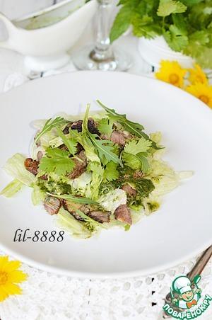 Рецепт Салат из баранины гриль с мятной заправкой