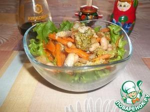 Рецепт Салат из фасоли, овощей и копченой рыбы