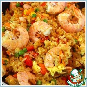 Рецепт Рис жаренный с креветками по-тайски