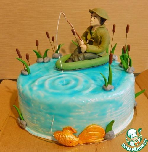 торт из мастики с днем рождения рыбака