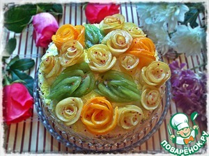 """Рецепт Торт """"Именинный"""" с фруктовыми розами"""