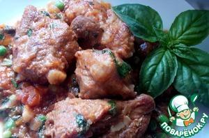 Рецепт Свинина тушеная с молодыми овощами и томатным соком