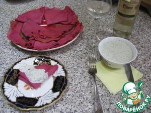 Рецепт Свекольные блинчики с пикантным соусом