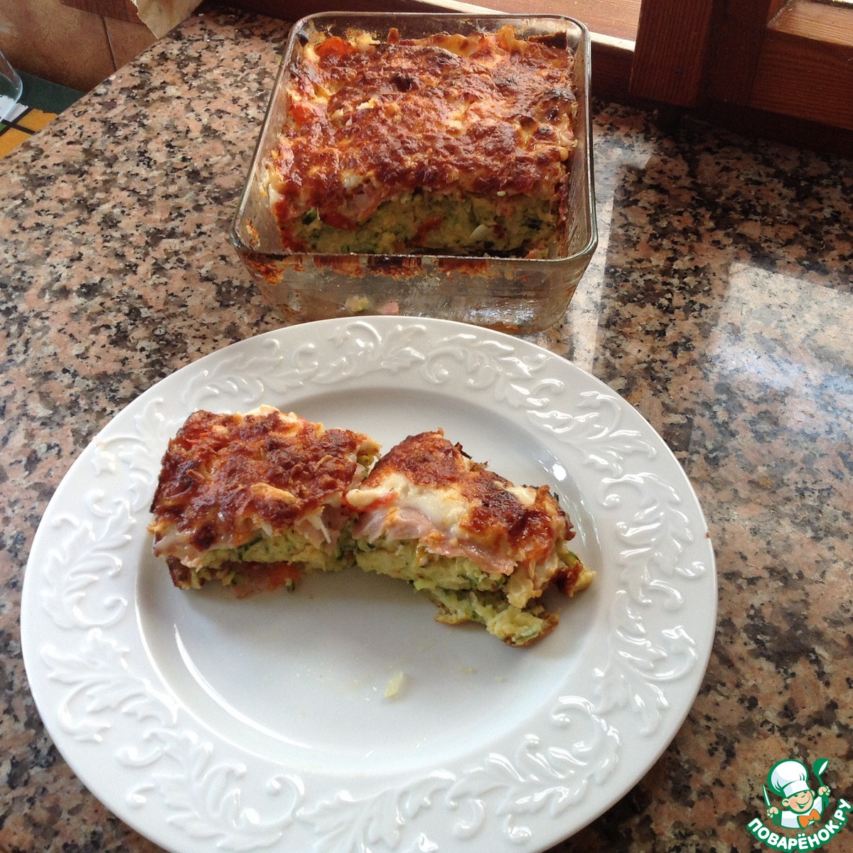 Кабачковая запеканка с колбасой рецепт