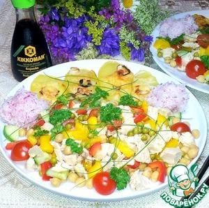 Рецепт Овощной салат с курицей и нутом