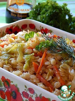 Рецепт Теплый капустный салат с макаронами