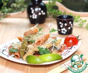 Рецепт Цветная паста пенне с грибным соусом