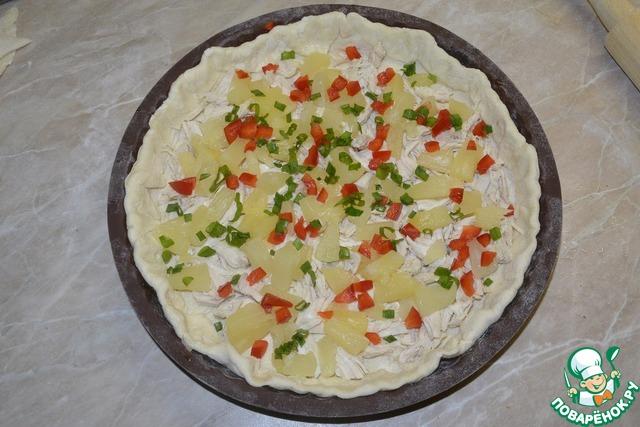 Пицца с ананасами и курицей рецепт пошагово