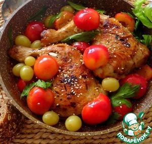 Рецепт Курица под соусом из слив и винограда