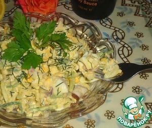 Рецепт Луковый салат с яйцом и огурцом