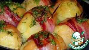 Рецепт Запеченная картошка с моцареллой, луком и грибами