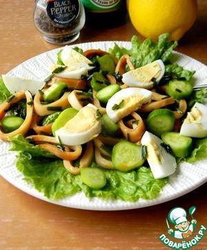 Рецепт Салат с маринованными кальмарами