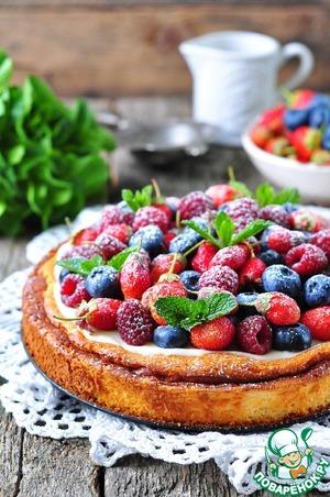 Рецепт Творожная запеканка со сметанным кремом и свежими ягодами
