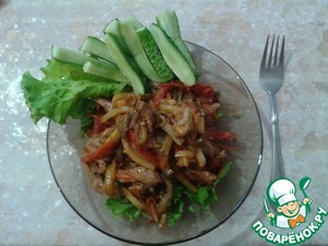 Рецепт Тёплый салат с курицей и баклажанами