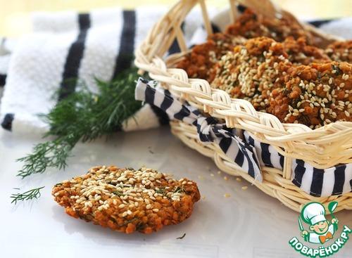 Соленое печенье из пшенных хлопьев с укропом
