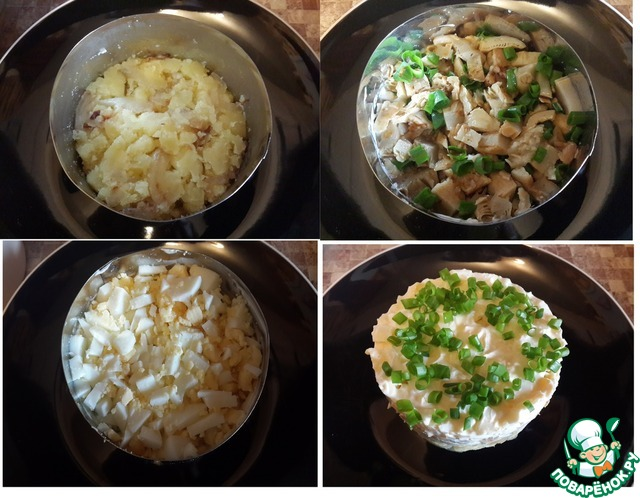 салат из грибов маринованных соленых рецепт