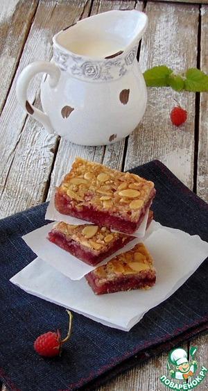 Рецепт Овсяное печенье с малиной и миндалем