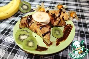 Рецепт Блинчики с бананом и шоколадным соусом