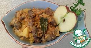 Рецепт Куриные сердечки с белыми грибами в сливочном соусе