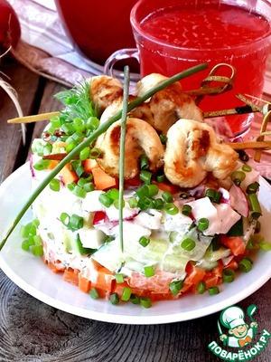 Рецепт Овощной салат с мини-шашлычками