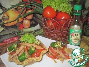 Рецепт Салат с мясом и яичными блинчиками