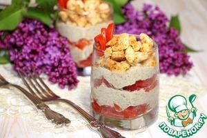 Рецепт Порционный салат с чечевичным кремом и куриными кубиками
