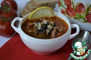 Рецепт Кубинский суп с черной фасолью и колбасой чоризо