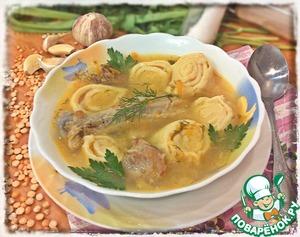 Рецепт Гороховый суп с чесночными рулетиками