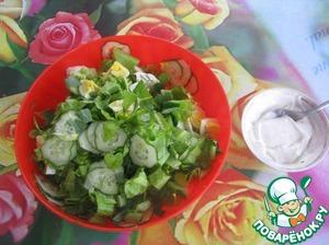 Рецепт Зелёный салат со сметаной и яйцом