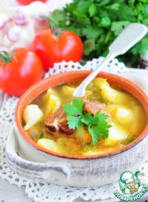 Рецепт Быстрый гороховый суп из молодых овощей