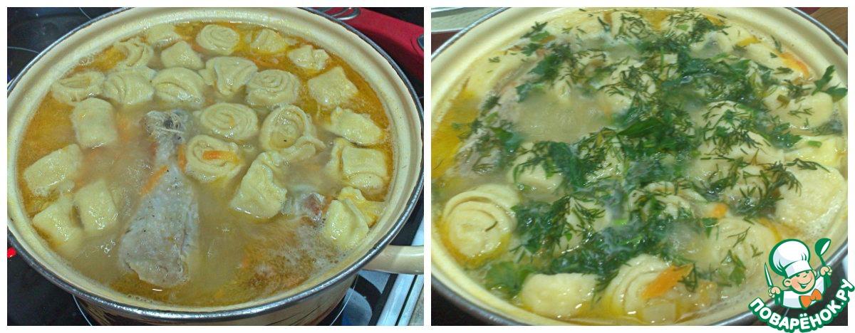 Суп с тестом рулетиком рецепт