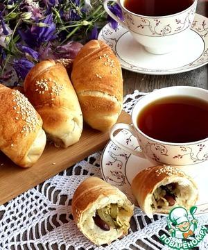 Рецепт Булочки-рулеты со вкусной фасолевой начинкой