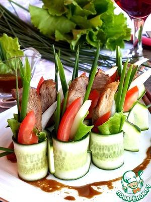 Рецепт Овощной салат со свининой терияки