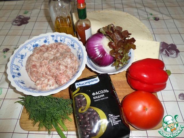 Лепешка с фасолью, мясным фаршем и овощами простой рецепт приготовления с фото как готовить #1