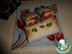 Рецепт Лепешка с фасолью, мясным фаршем и овощами