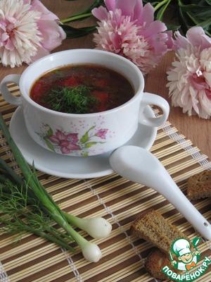 Рецепт Суп со свекольной ботвой и фасолью