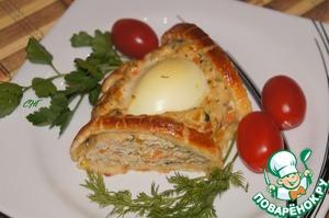 Рецепт Венок из куриного фарша с яйцами