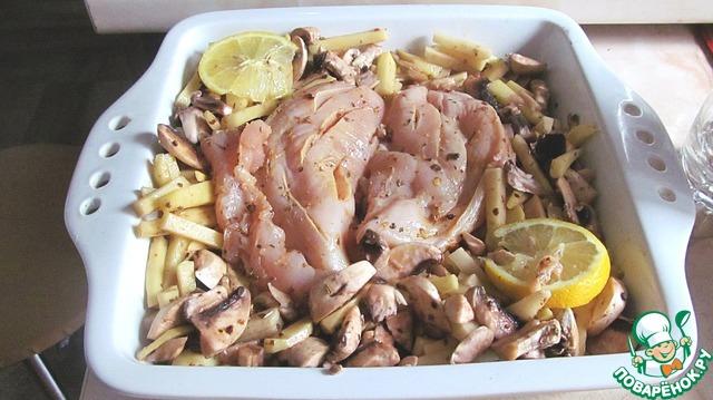 Куриная грудка с картошкой и грибами в духовке рецепт с пошагово в