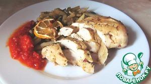 Рецепт Запеченная куриная грудка с гарниром из картофеля и грибов