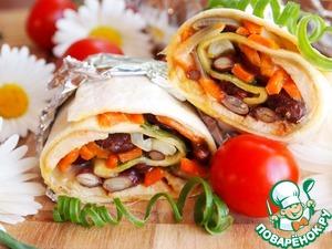 Рецепт Буррито с куриным шашлыком, овощами и сыром