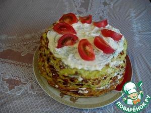 Рецепт Кабачковый торт с плавлеными сырками