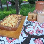 Пирог с диким рисом, курицей и баклажанами