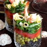 Салат в стакане Для жены моряка